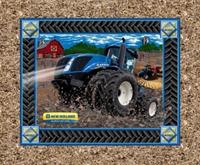 New Holland Blue Tractor Headlights Cotton Fabric Pillow Panel