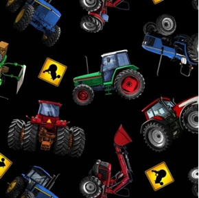 In Motion Farm Tractors Red Blue And Green On Black Cotton Fabric