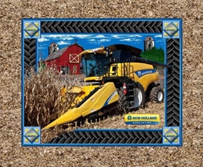 New Holland Yellow Tractor Harvesting Cotton Fabric Pillow Panel