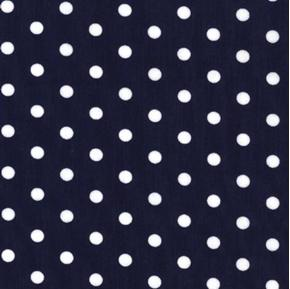 Polka Dots 3/4 Inch White on Navy Blue Cotton Fabric
