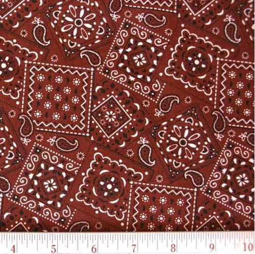 Blazin Bandanas Rust Bandana Pattern Cotton Fabric