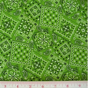 Blazin Bandanas Lime Green Bandana Pattern Cotton Fabric