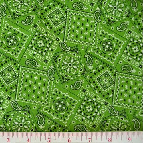 Blazin Bandanas Lime Green Bandana Pattern Cotton Fabric