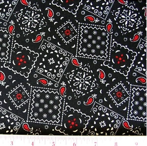 Blazin Bandanas Black With Red Paisley Pattern Cotton Fabric