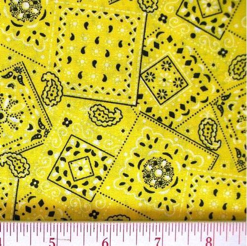 Blazin Bandanas Yellow Bandana Pattern Cotton Fabric