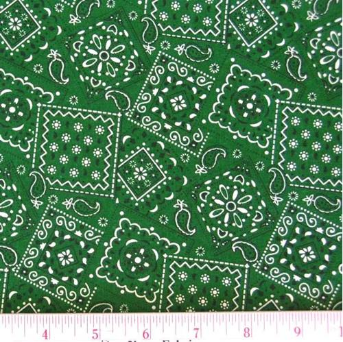 Blazin Bandanas Green Bandana Pattern Cotton Fabric