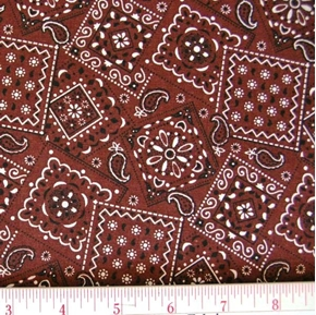 Blazin Bandanas Brown Bandana Pattern Cotton Fabric