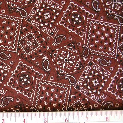 Blazin Bandanas Brown Bandana Pattern Cotton Fabric
