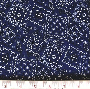 Blazin Bandanas Navy Blue Bandana Pattern Cotton Fabric