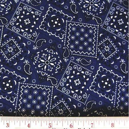 Blazin Bandanas Navy Blue Bandana Pattern Cotton Fabric