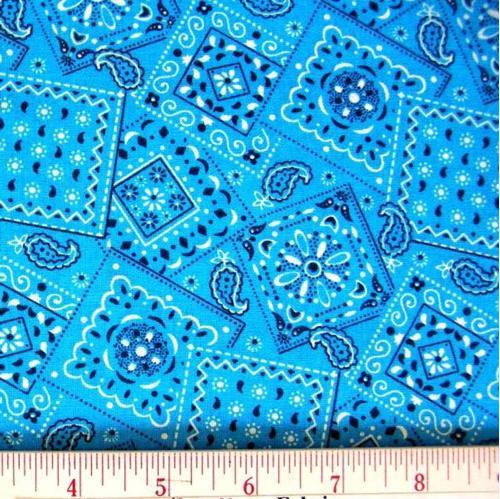 Blazin Bandanas Sky Blue Bandana Pattern Cotton Fabric