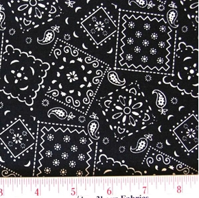 Blazin Bandanas Black Bandana Pattern Cotton Fabric
