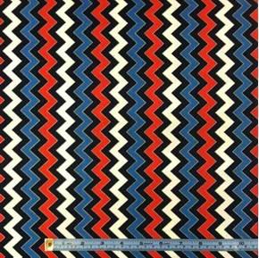 Patriotic Pop Chevron Red and Blue Chevrons on Navy Cotton Fabric