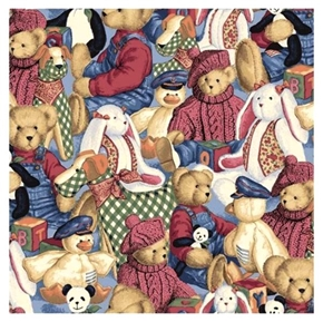 Blue Jean Bear Teddy and Toys Collage Cotton Fabric