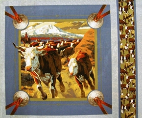 Cattle Drive Cattle On a Cattle Drive Cotton Fabric Pillow Panel