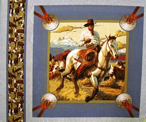 Cattle Drive Cowboy On a Cattle Drive Cotton Fabric Pillow Panel