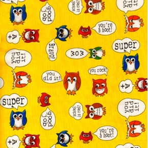 School Rewards And Owls Super Good Job Wow Bravo Cotton Fabric