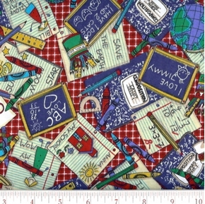 Picture of Bookworm School Supplies on Red Plaid Cotton Fabric