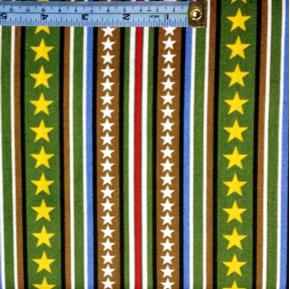 Picture of Hugs for Heroes Peanuts Stars and Stripes Green Brown Cotton Fabric
