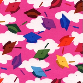 Hallmark Graduation Day Caps Galore On Fuchsia Cotton Fabric