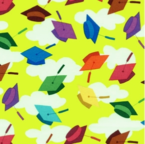 Picture of Hallmark Graduation Day Caps Galore on Lime Cotton Fabric