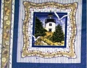 By The Sea Lighthouse Panel Cotton Fabric Pillow Panel
