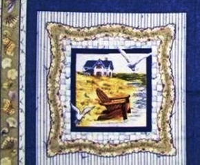 By The Sea Beach House Cotton Fabric Pillow Panel