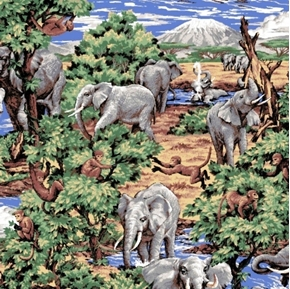 Grey Elephants in the Jungle Cotton Fabric