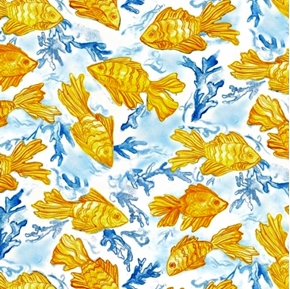 Impressions Goldfish On Blue Cotton Fabric