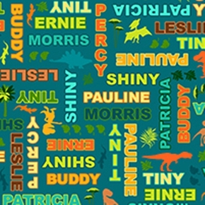 Dinosaur Train Character Names on Aqua Cotton Fabric