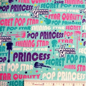 Flannel Disney Hannah Montana Pop Princess Star Cotton Fabric