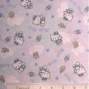 Flannel Hello Kitty Bears on Light Blue Cotton Fabric