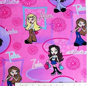 Lil' Bratz Large Circle and Square Pink Cotton Fabric