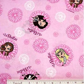 Lil' Bratz Small Circles on Pink Cotton Fabric