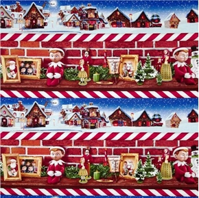 Picture of Elf on the Shelf Holiday Decoration Stripes 24x22 Cotton Fabric