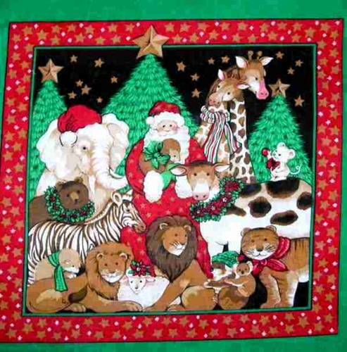 Holiday Santa Animals And Christmas Trees Cotton Fabric Pillow Panel