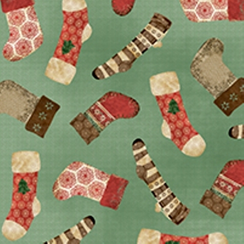 Homespun Holidays Christmas Stockings On Green Cotton Fabric