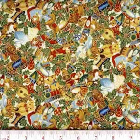 Victorian Holiday Toys Lined With Gold Cotton Fabric