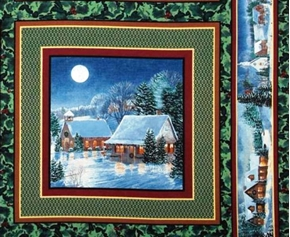 Winters Eve Holiday Two Country Houses Cotton Fabric Pillow Panel
