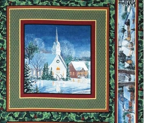 Winters Eve Holiday Snowy Church Cotton Fabric Pillow Panel