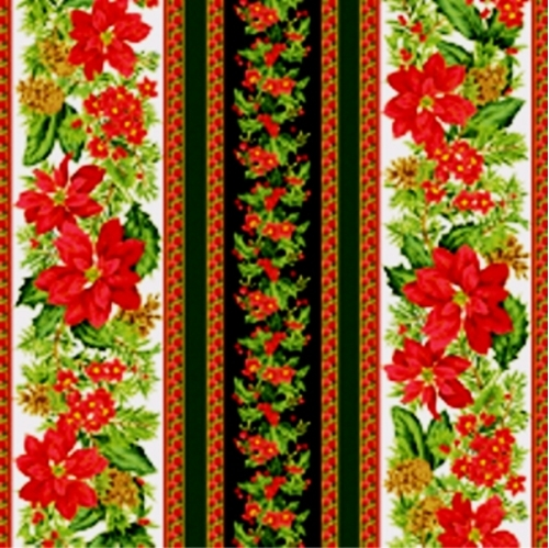 Holiday Dazzle Poinsettias And Holly Stripes Cotton Fabric