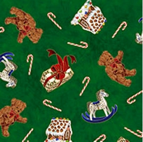 Candy Cane Dreams Christmas Toss On Green Cotton Fabric