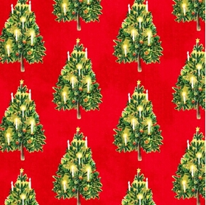 Victorian Christmas Trees with Lit Candles Cotton Fabric