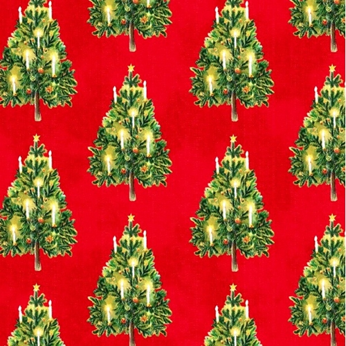 Victorian Christmas Tree.Victorian Christmas Trees With Lit Candles Cotton Fabric