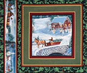 Winters Eve Holiday Horse Drawn Sleigh Cotton Fabric Pillow Panel