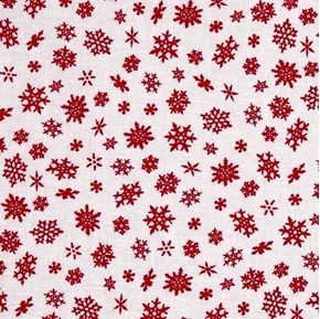 Picture of Elf on the Shelf Holiday Red Snowflakes on White Cotton Fabric