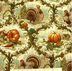 Harvest Toile Turkeys Pumpkins And Vines Cotton Fabric