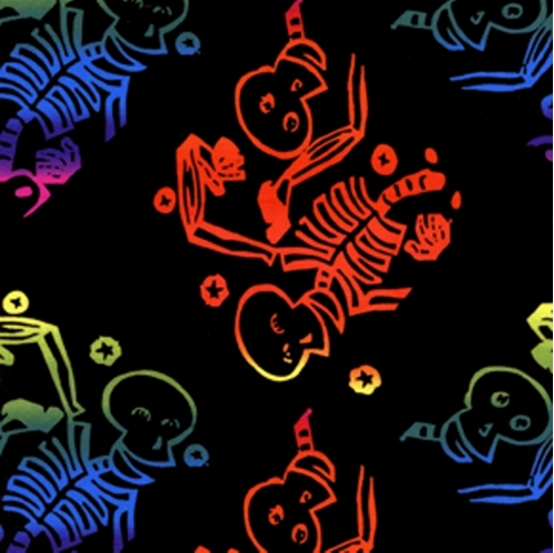 Picture of Fall Freight Rainbow Skeletons and Skulls Cotton Fabric
