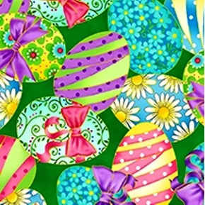 Springtime Decorated Easter Eggs on Green Cotton Fabric