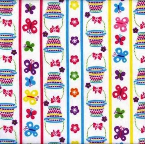 Easter Eggs Baskets And Flowers In Stripes Cotton Fabric